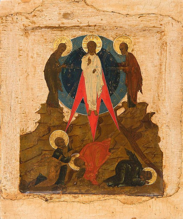 """The Master ascends Mount Tabor to flash forth with the beauty of His divinity."" (Troparion for the feast) Image: Transfiguration icon, Russian, early 19th c. The Temple Gallery, London. #sacredarts #sacredartsinitiative #russianicon #orthodoxicons #transfiguration #feast"