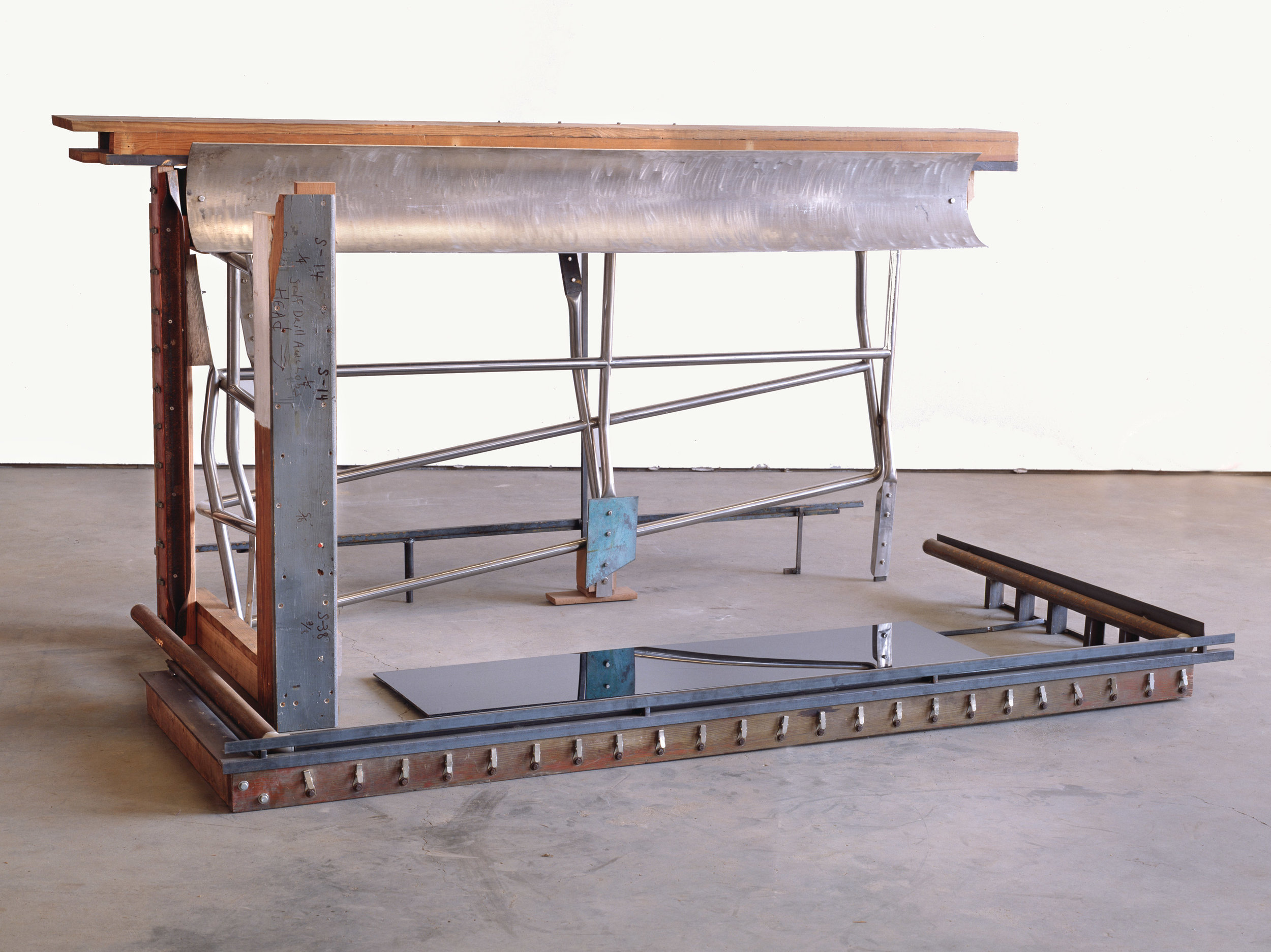 "Southern States (1990-95)  h. 54"" x w. 105"" x d. 66"" Wood, steel, stainless steel, galvanized steel, bronze, aluminum, Plexiglas"