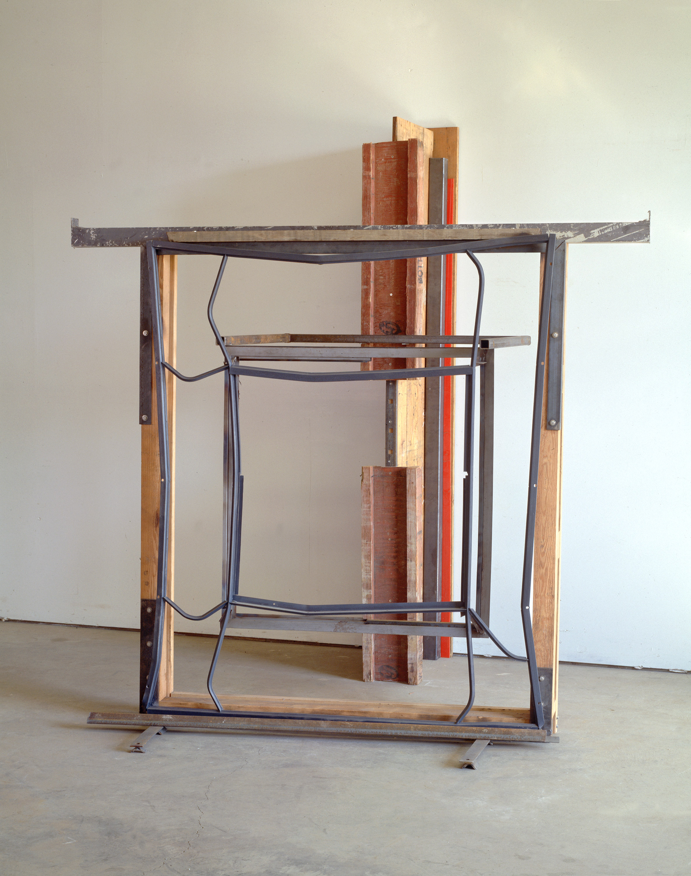 "Index       1990-95   h.100 3/4  "" x w.91 1/4"" x d. 85""  Wood, steel, stainless steel, aluminum, plexiglas"