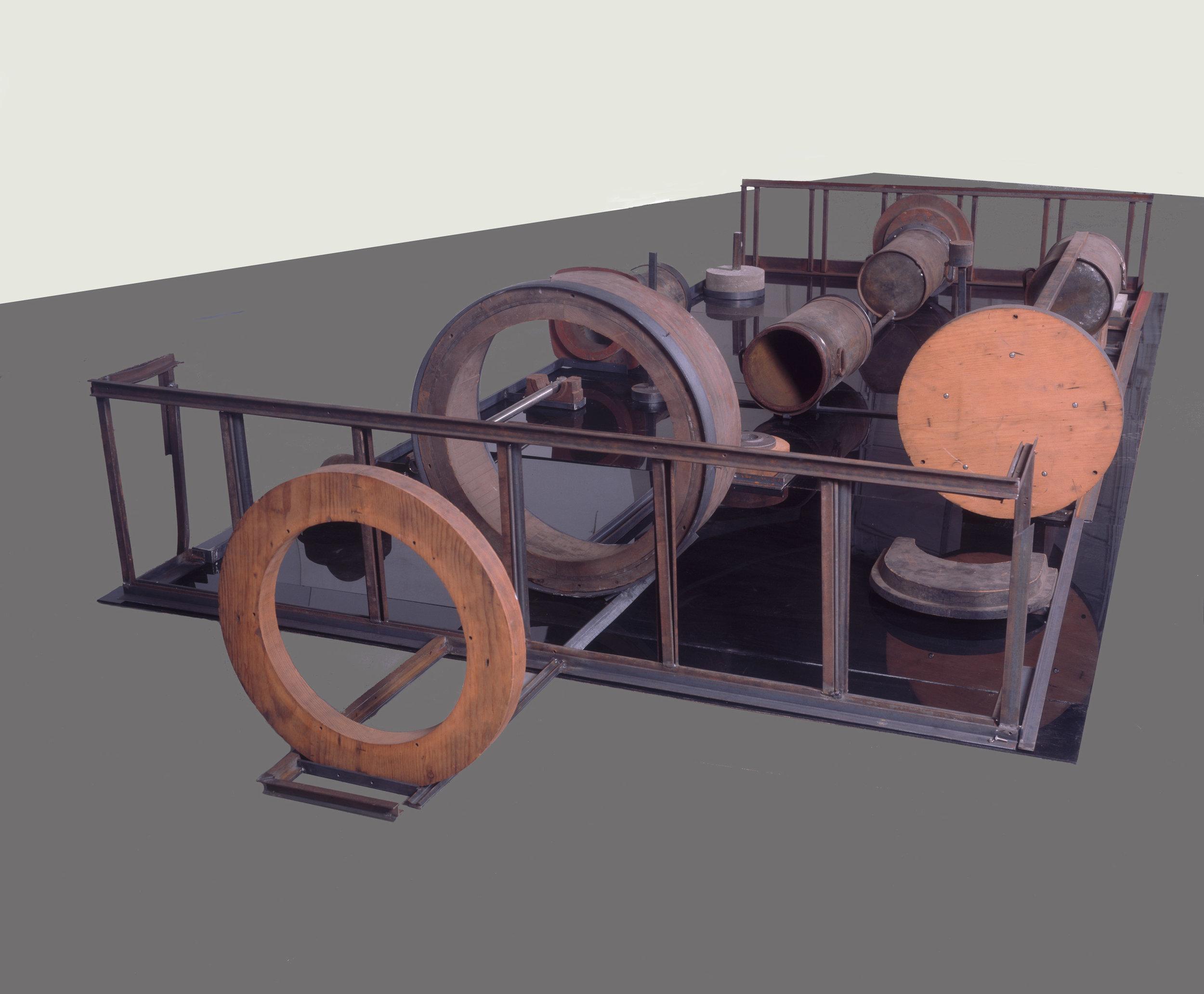 "Black Pool , 1996-99 h. 31"" x w. 96"" x d. 228"" Wood, steel, iron, stainless steel, cement, plexiglas"