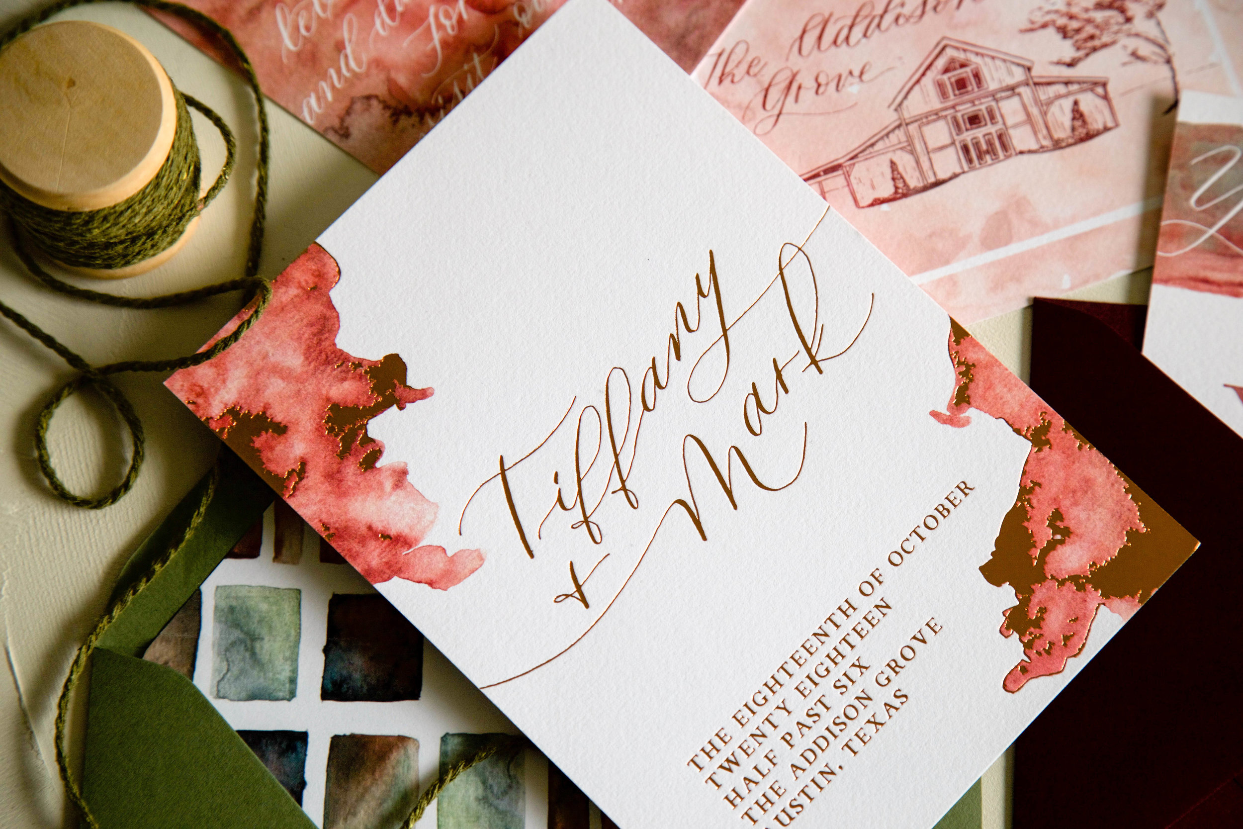 Warm Autumn Watercolor Invitation Suite