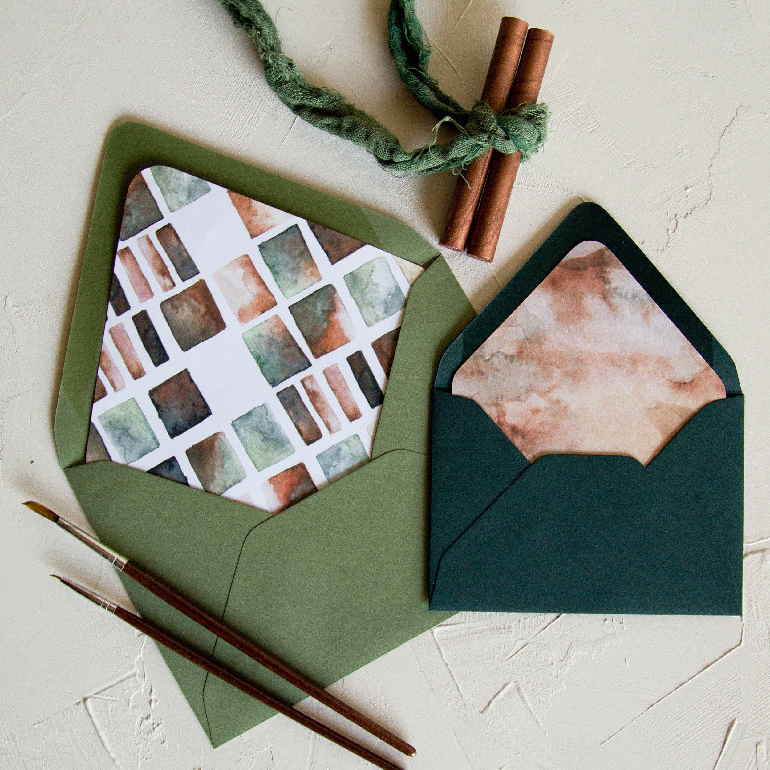Copper and green envelope liners
