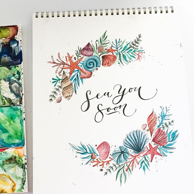 Sea illustration and lettering 💙 🌊 .  #illustration #lettering #seaillustration #watercolor #acuarela #sea #dibujo #art #handmade