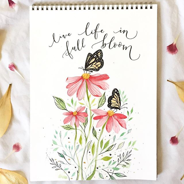 Live life in full bloom 🌷 Got inspired last night by a photograph I saw in Pinterest and I really loved how it turned out🎨🙌🏻 I used: Watercolors, micron pens and strathmore paper ✨  #acuarela #watercolor #butterflies #nature #naturaleza #photooftheday #art #painting #handmade #lettering #handlettering #quote #life #love