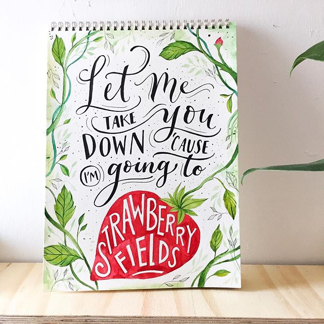 Strawberry Fields Forever 🍓🍃 Illustration and lettering 🤓🙌🏻 What do you think? ✨ . #thebeatles #strawberryfields #nature #music #acuarela #watercolor #lettering #illustration #art #handmade #picotheday #photooftheday