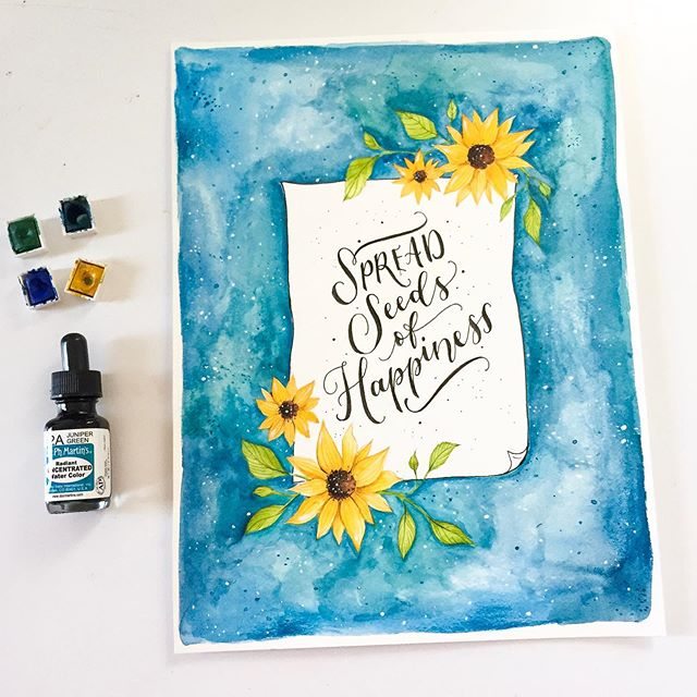 🌻🌻🌻💙💙💙 I've been really obsessed with sunflowers lately! I used the Dr Ph Martins concentrated watercolor to add the blue, I love using it because it has a lot of coverage and you dont need to use much product to make it look this vibrant 🙌🏻 . #ilustracion #illustration #watercolor #acuarela #sunflower #nature #quote #photooftheday #art #blue #flower #handmade #lettering