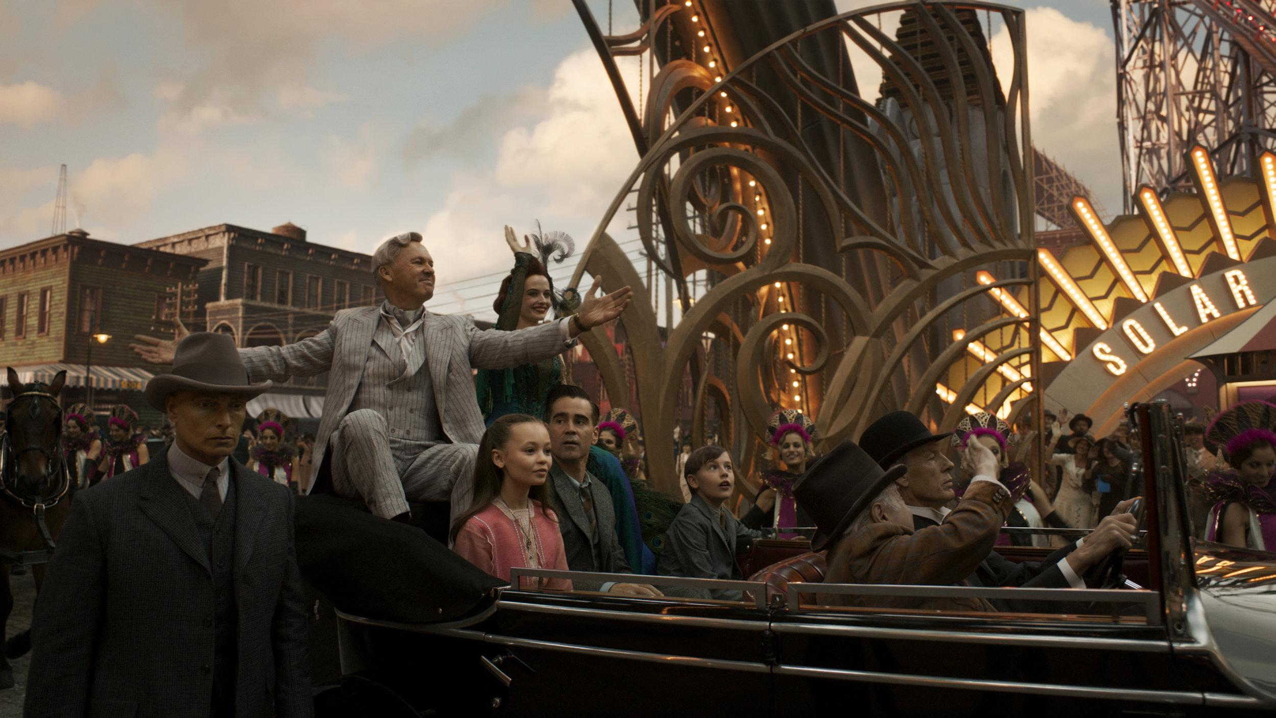 Michael Keaton, Eva Green, Nico Parker, Colin Farrell, and Finley Hobbins   Walt Disney Studios Motion Pictures