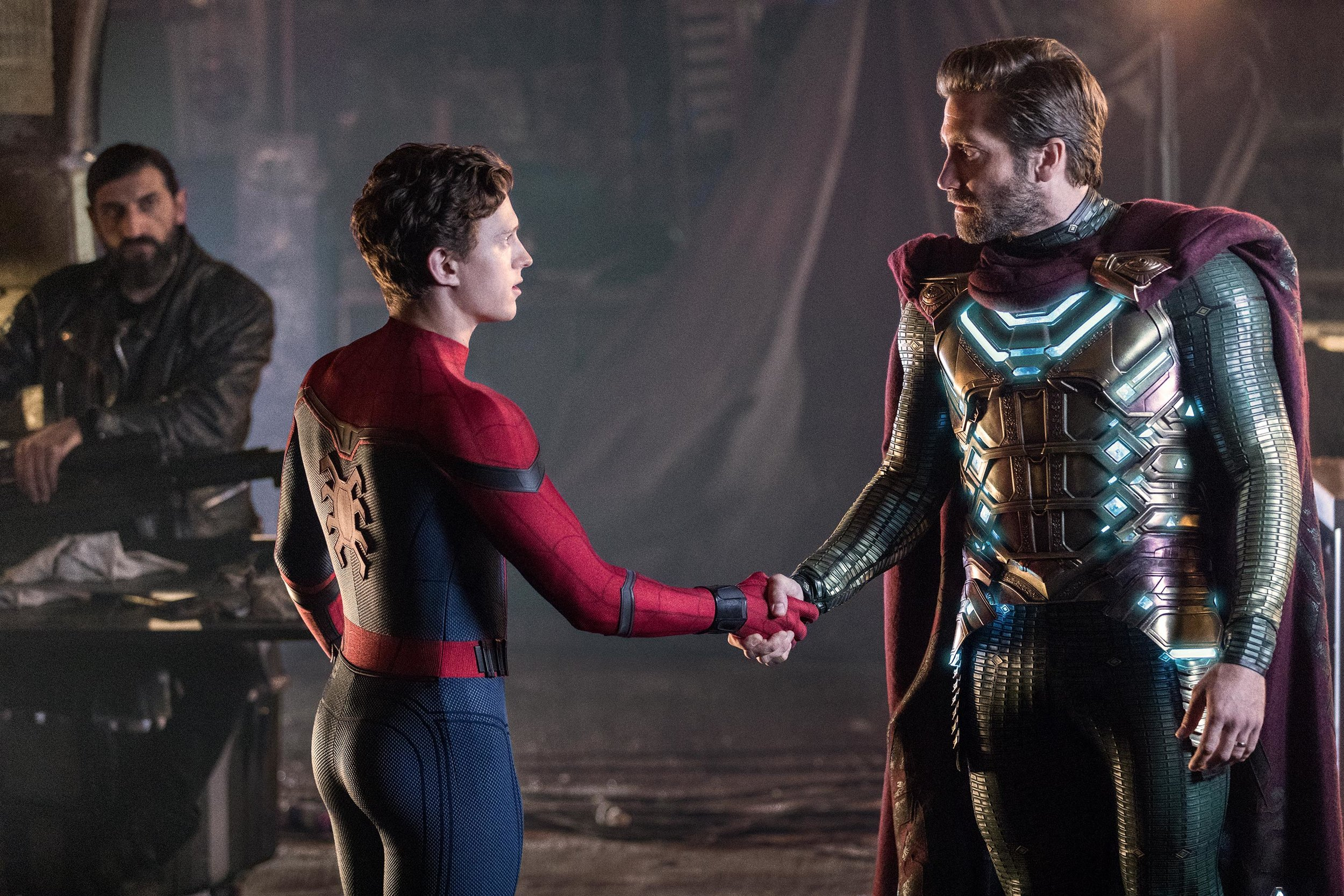 Numan Acar, Tom Holland, and Jake Gyllenhaal in  Spider-Man: Far From Home  | Sony Pictures Releasing