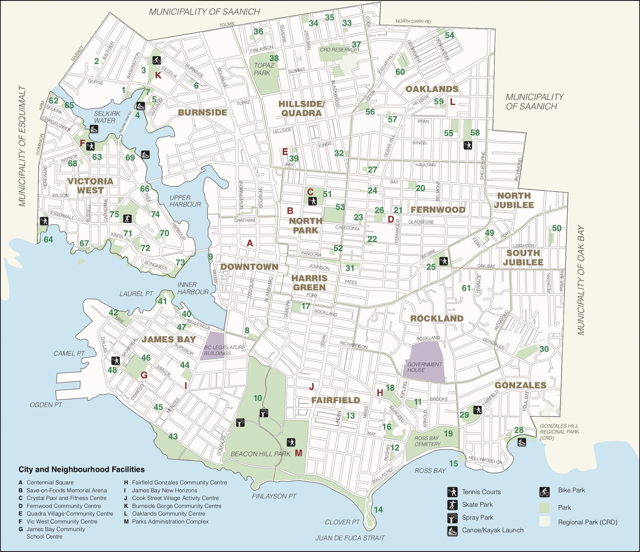 Scaleable map with legend listing parks -    City Of Victoria Parks - PDF