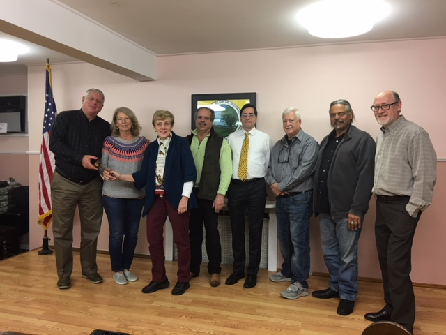 THE CURRENT BOARD OF THE MAMARONECK HISTORICAL SOCIETY. lEFT TO RIGHT IS JOHN PRITTS AND GAIL BOYLE, CO-PRESIDENTS, CAROL AKIN, SECRETARY, GEORGE MGRDITCHIAN, VICE PRESIDENT, DON SUTHERLAND, TREASURER, MIKE TRIPICCO, ARCHIVIST, RAY MALDONADO, TRUSTEE, AND PETER FELLOWS.