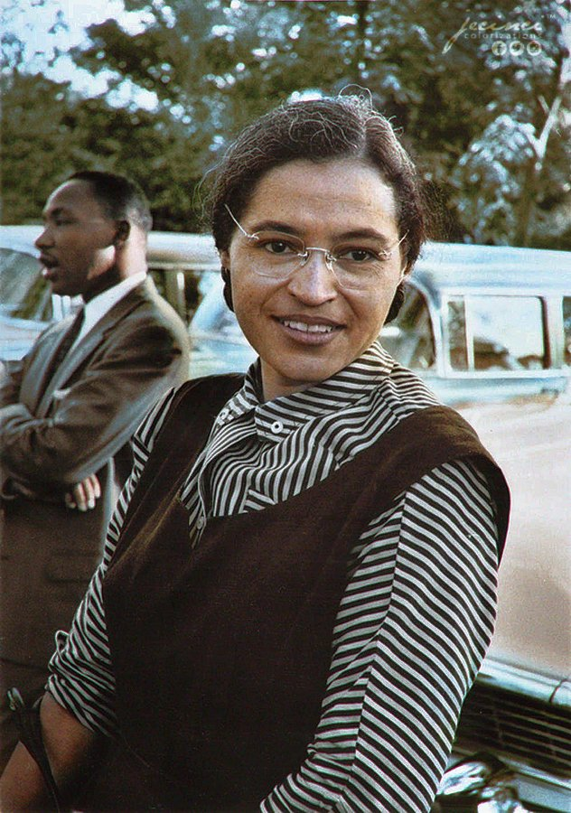 Rosa Parks and Martin Luther King Jr. in Montgomery, Alabama in c. 1955. Colorization by  Jecinci