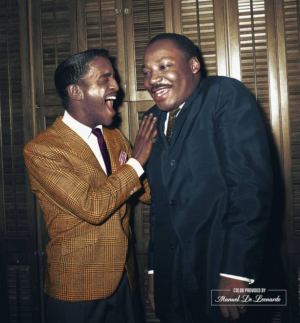 Martin Luther King Jr. and Sammy Davis Jr. laughing together in Davis' dressing room at New York's Majestic Theater on the 4th March 1965. Colorization by Manuel De Leonardo