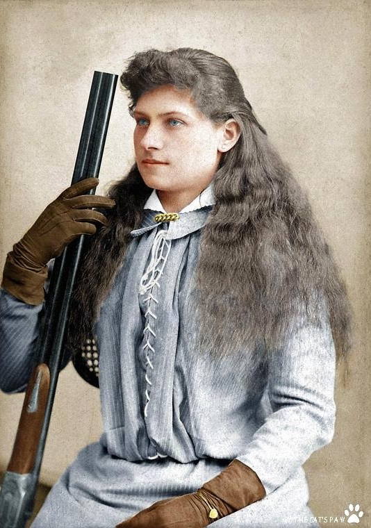 Famous American Sharpshooter, Annie Oakley, photographed during her 20s in the 1880s. Colorization by  JabbaLeChat
