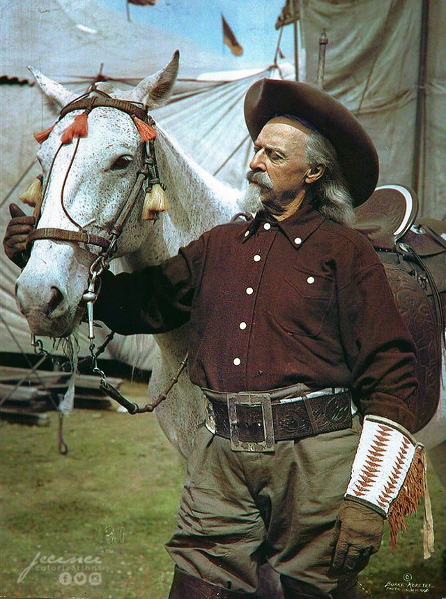 Buffalo Bill, creator of Buffalo Bill's Wild West Show, with his horse Isham in c. 1905. Colorization by  Jecinci