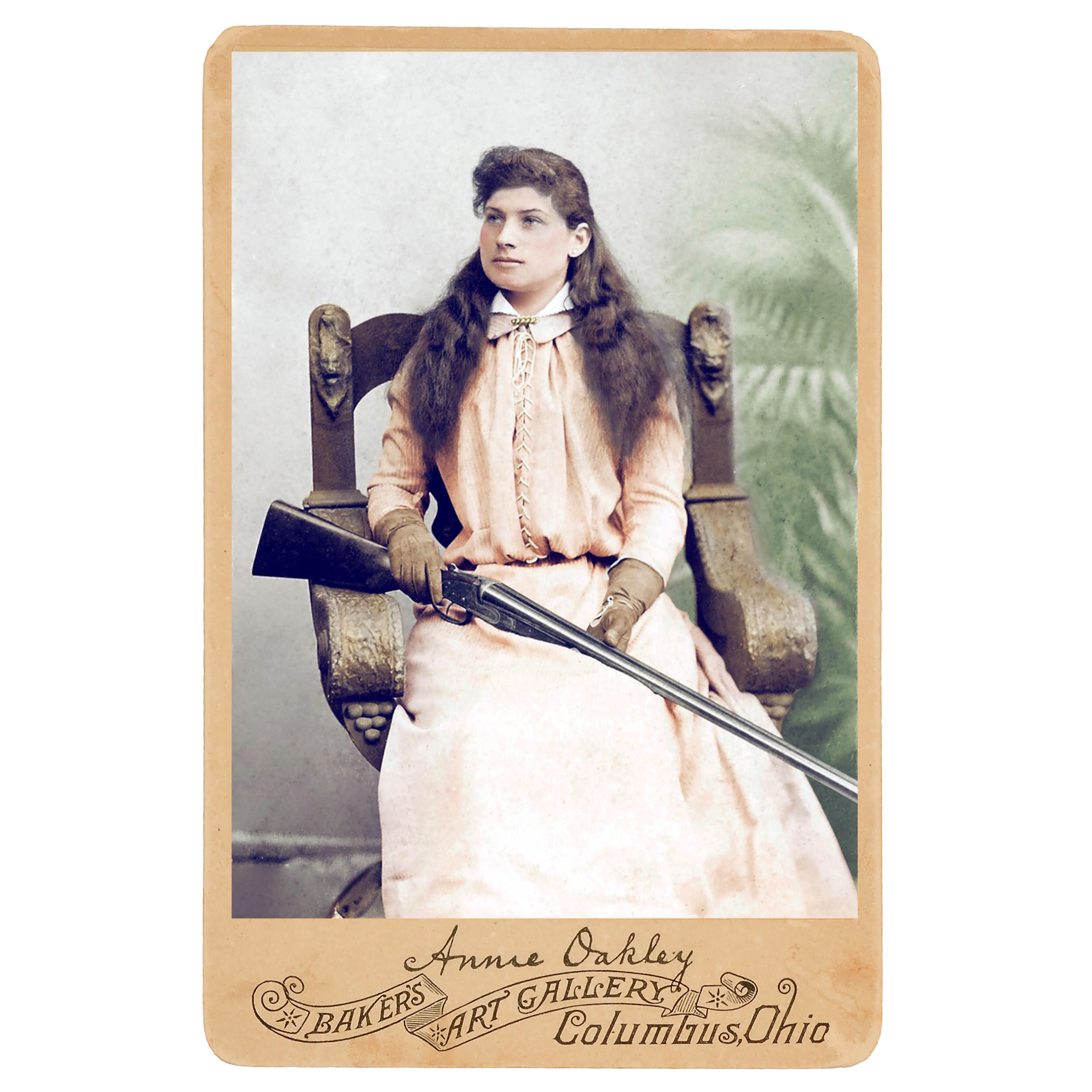 A photograph of a young Annie Oakley. Colorization by  Jargo1