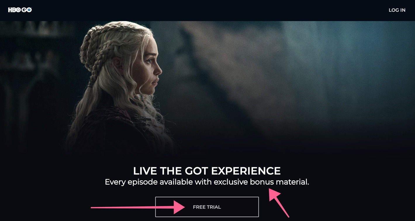 Fórmula de Lançamento (Marketing Digital) presente no landing page de Game of Thrones da HBO GO. Disponível em <https://www.hbogo.com.br/landing>. Acesso em: 15 abr 2019.