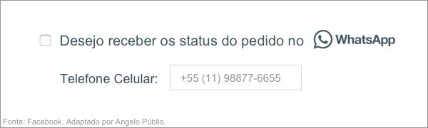Exemplo de Opt-in para WhatsApp. Fonte: Facebook. Adaptado por Angelo Públio. Disponível em <https://developers.facebook.com/docs/whatsapp/guides/opt-in/>. Acesso em: 2 mai 2019.
