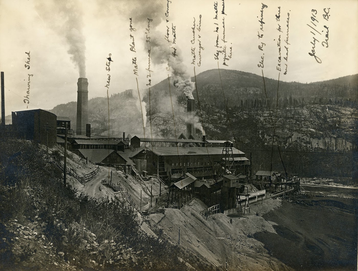 1916:CM&S Partnership - Anticipating growing energy demands, especially with the First World War bringing large zinc contracts, the Consolidated Mining & Smelting Company (CM&S) acquires the West Kootenay Power & Light Company as a wholly-owned subsidiary. CM&S will later change its name to Cominco and then to Teck (Teck Trail Operations in Trail, BC).Photo 2318.0171: The CM&S smelting operations in Trail, BC taken July 1st, 1913.