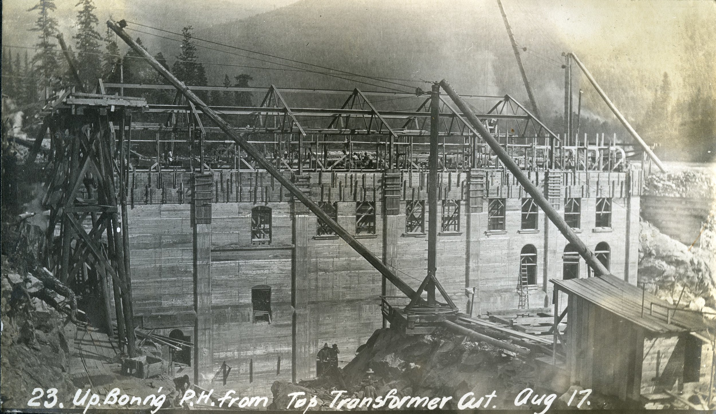 1906-7:No. 2 Plant is Built - To keep up with increasing energy demands, a second dam was built on the Kootenay River above the previous No. 1 Plant on the Upper Bonnington Falls. This dam is expanded in 1938 and again in 1941.Photo 2338.0062: The No. 2, or Upper Bonnington Plant during its construction, taken in 1906.