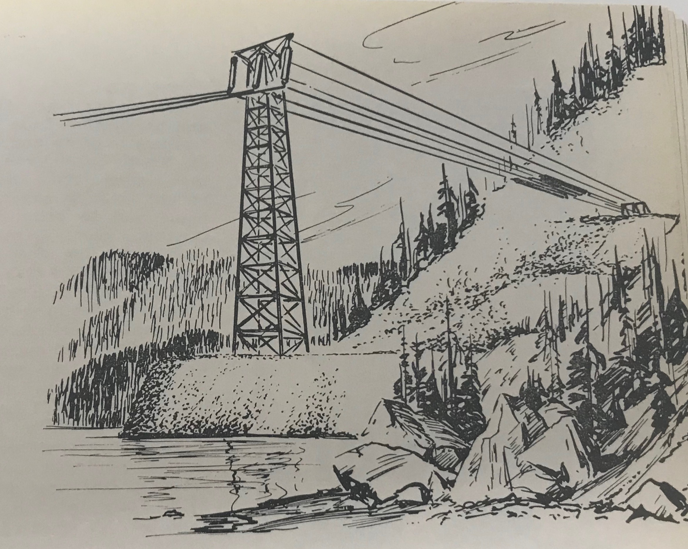 1951:New Engineering Feats - After the war, CM&S wants to connect their new Sullivan Mine operations in Kimberley to the electricity produced at the Brilliant Dam. An 86-kilometer power line needed to be built. A line of that size should not have been an issue, however, it needed to cross Kootenay Lake. As such, West Kootenay Power's lines once again make history, completing the longest power-line span in world, measuring 2 miles, which connected the route across the Kootenay Lake.This drawing appeared in the March 1952 edition of Cominco Magazine showing the proposed design for the span, in particular the plan for the final power pole before the lake.