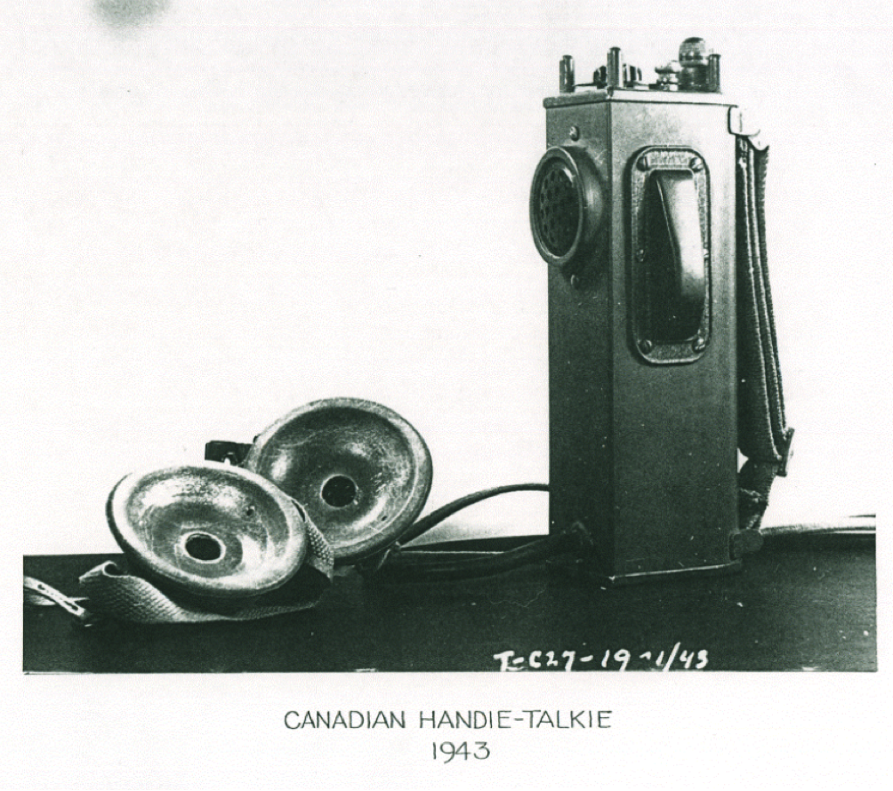 The C-27 Handie-Talkie developed by Hings pictured here in January 1943. This is what most people think of as a walkietalkie.  This model had the receiver within the earphone so if the enemy were in close proximity they wouldn't hear any transmissions and give away the operators position.