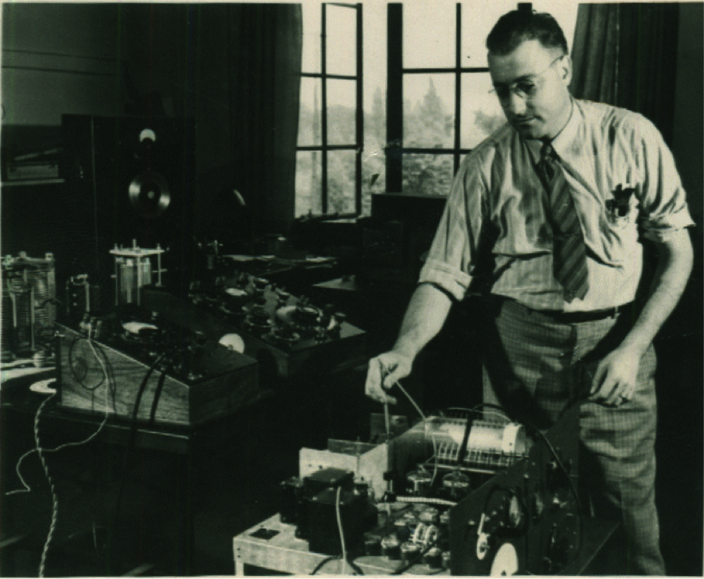 Hings working on a prototype in 1942