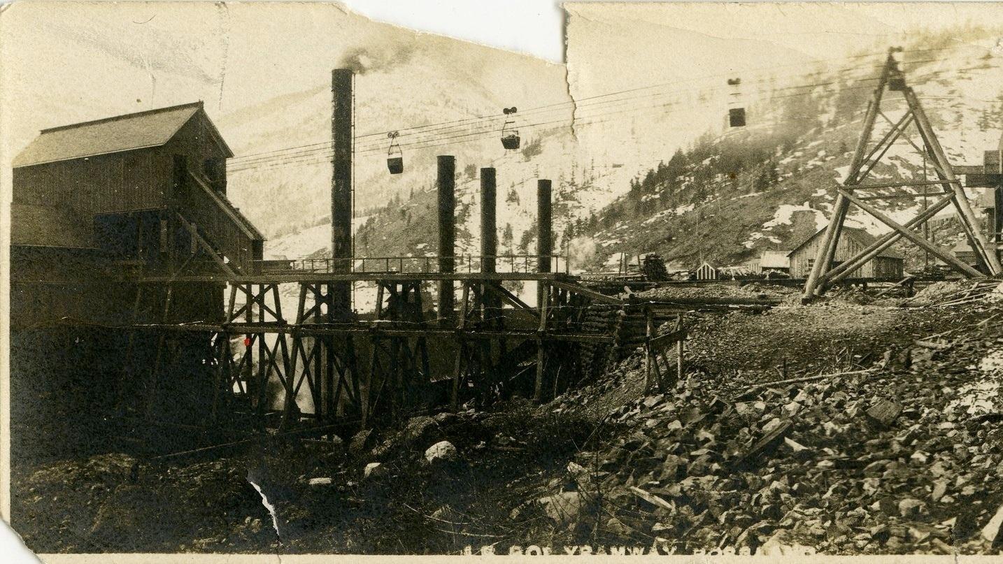 Photo 2305.0004: The aerial tram at the Le Roi mine, circa 1889.