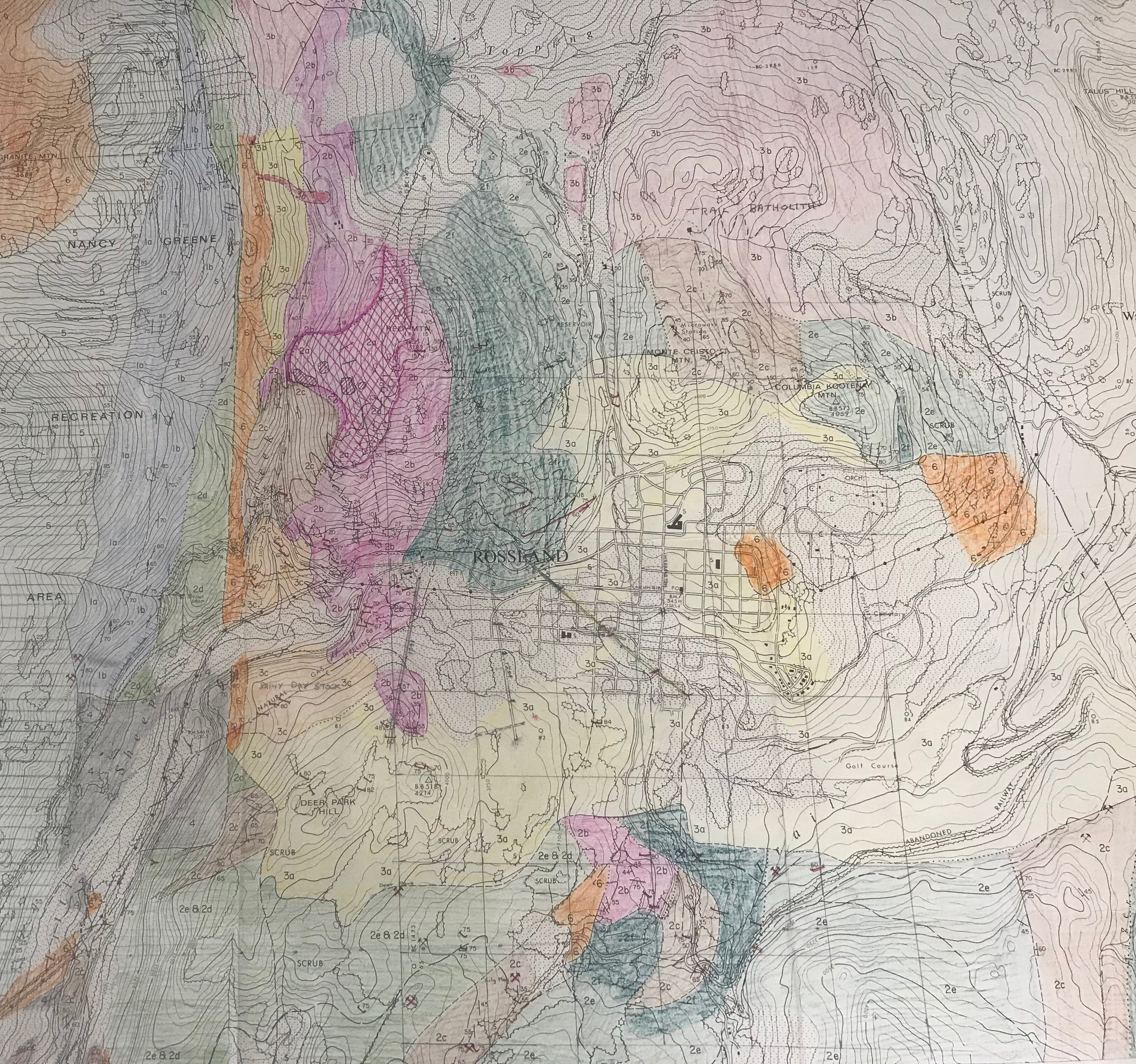 Colour-coded map of the Rossland area, showing different geological features. Map created by Cominco (now Teck Trail Operations) See key below. (click for a closer look)