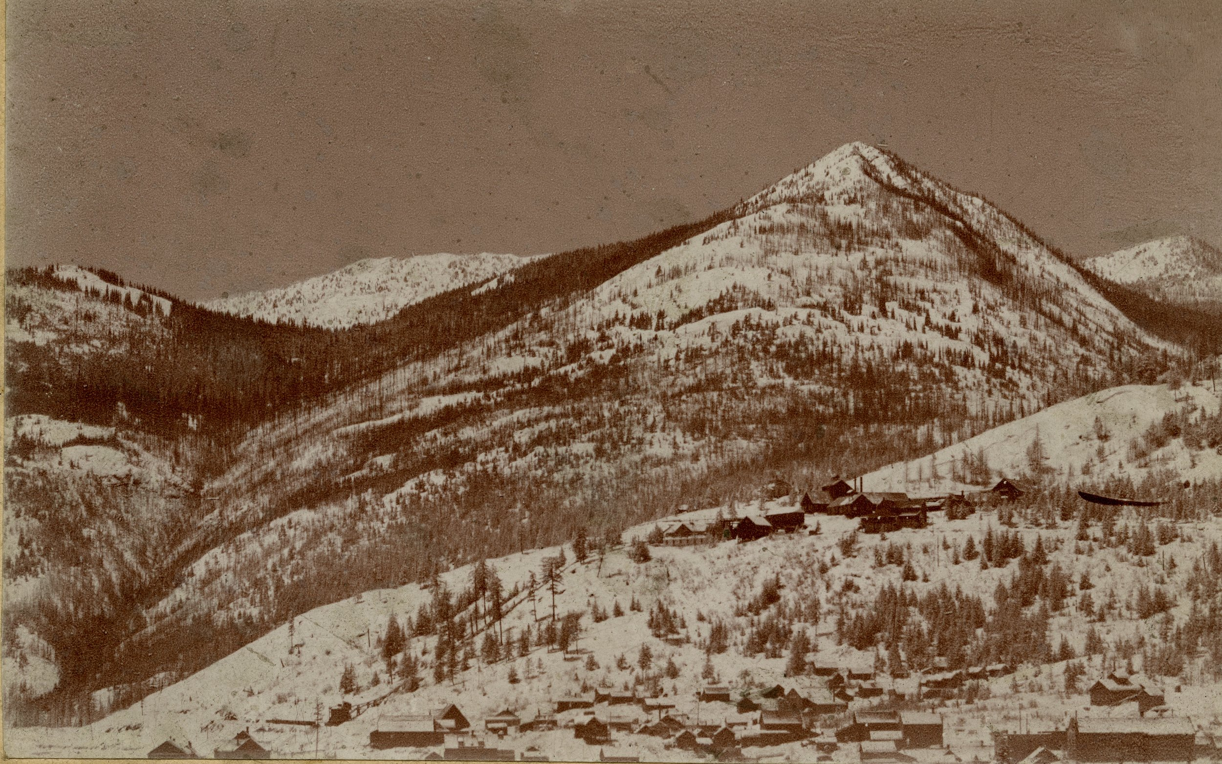 Photo 2311.0010: A moonlight view of Mount Spokane, taken January 9th, 1898. Mount Spokane was renamed Mount Roberts in June 1900 after the Boer War in honour of the famous British General - Lord Frederick Roberts.