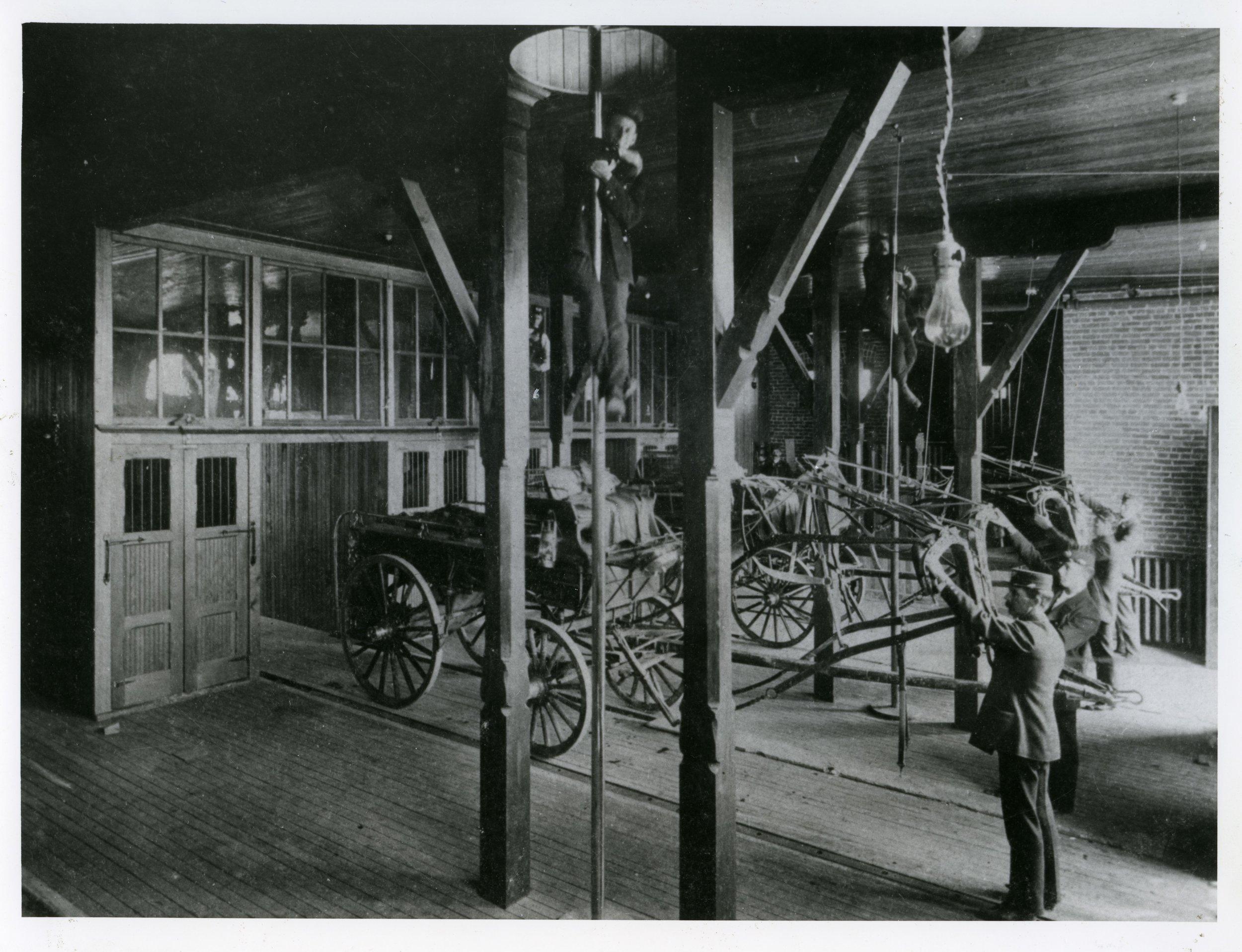 Photo 2276.0031: The interior of the Rossland Fire Hall, circa 1901.