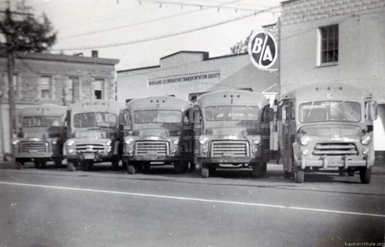 Photo 2318.0052: The Rossland Co-operative Transportation Society's Bus Fleet, circa 1952.