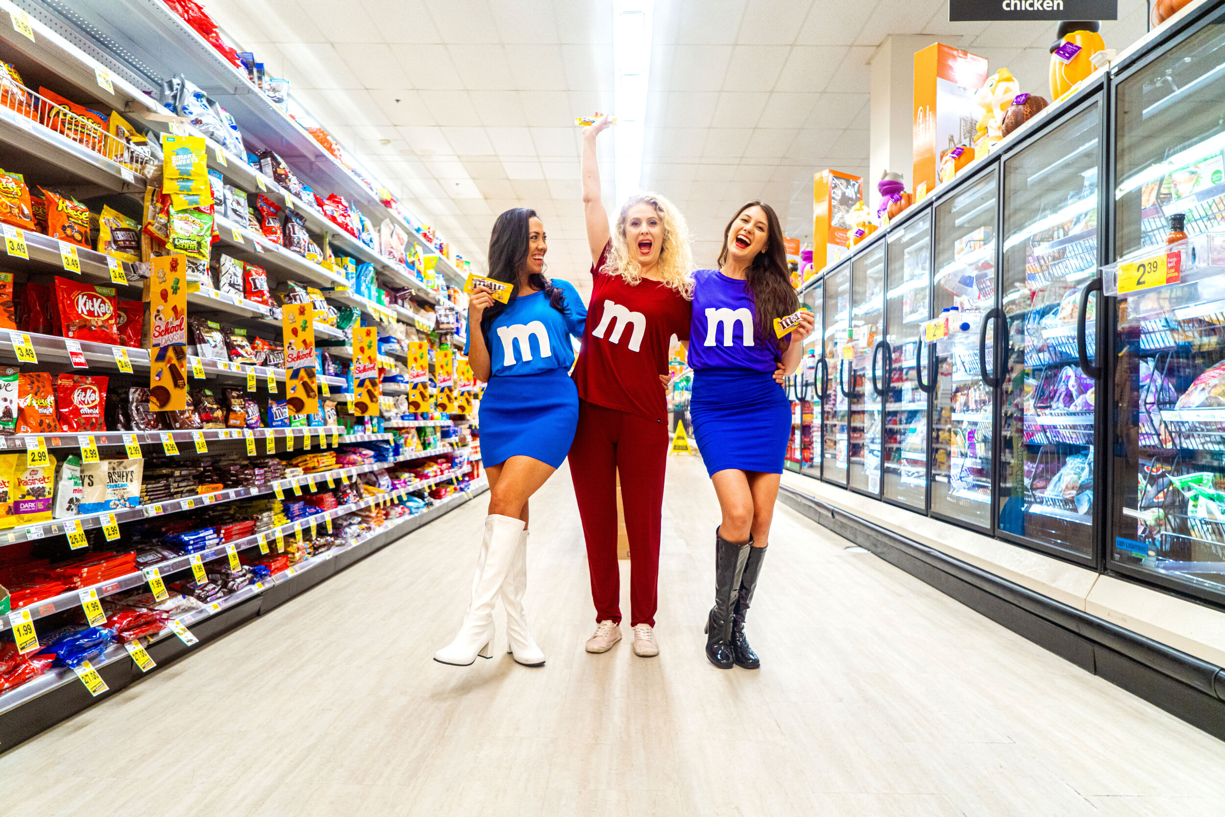 M&M's - BRB just melting over how cute this costume is. Get a few of your friends together, coordinate colors (no I wanna be the blue one!) Cut a few m's out of white paper and shop our colorful, soft-as-heck, loungewear tops to complete the lewk.