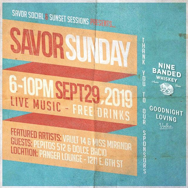 Come hangout with us at #SavorSunday on September 29th! We've teamed up with @sunsetsessions14 to bring you a fun night of local eats, free drinks, fresh beats, and cool peeps. RSVP to come out and support local artists and businesses. Link in bio. LET'S PARTY! 🎉