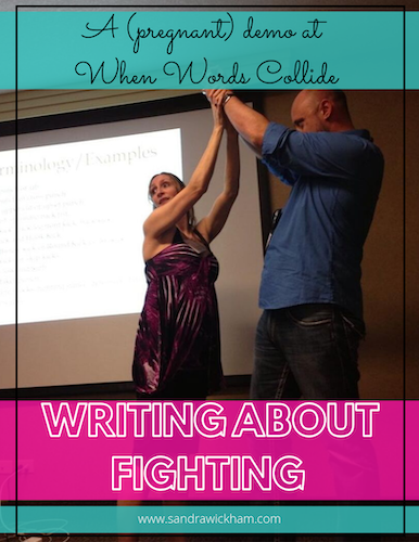 Sandra demonstrates moves during a Writing About Fighting presentation at When Words Collide, while eight months pregnant.