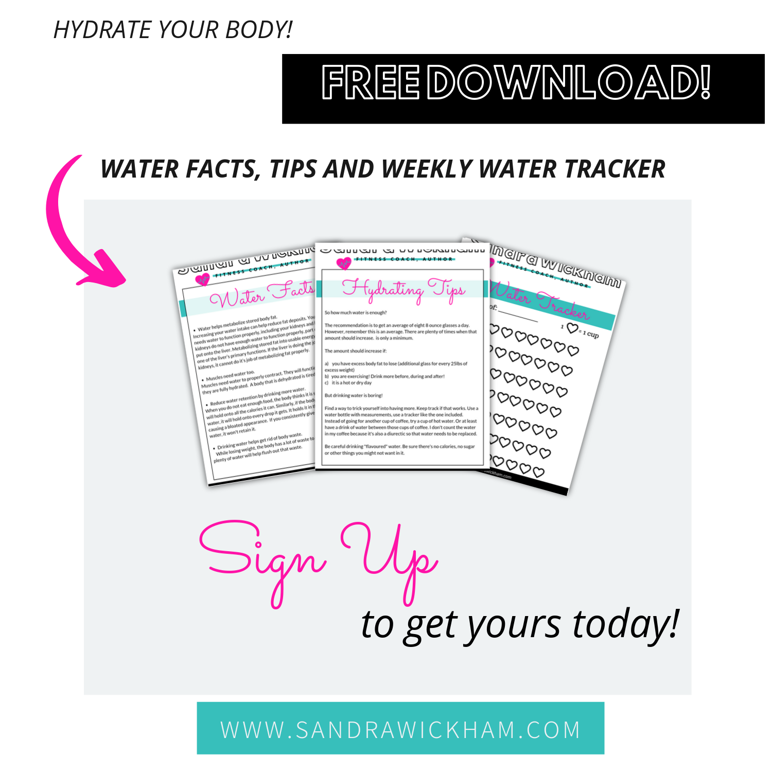 Free Hydration Bundle! - Get yours today! Simply sign up to my newsletter and you'll also get updates, notices of new free resources as well as health and tips.