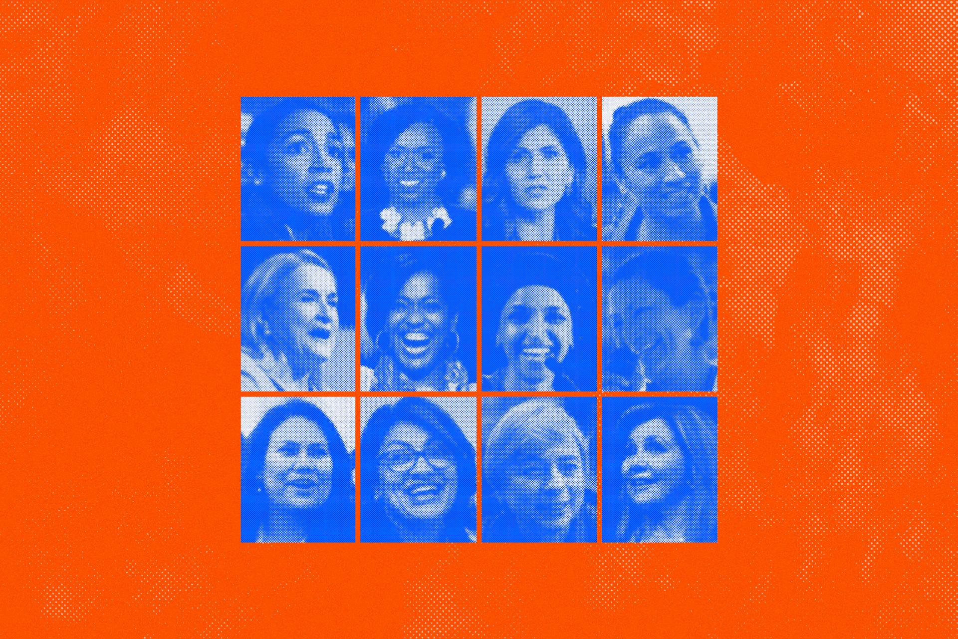 From left to right, top to bottom: Alexandria Ocasio-Cortez, Ayana Pressley, Kristi Noem, Sharice Davids, Sylvia Garcia, Jahana Hayes, Ilhan Omar, Deb Haaland, Veronica Escobar, Rashida Tlaib, Janet Mills and Marsha Blackburn.