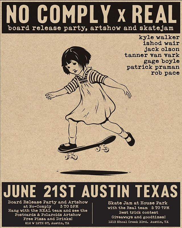 Howdy partners! Come on down to @nocomplyatx tomorrow Friday June 21st to kick up some dust with @andy_pitts @lordrichardhead and the @realskateboards team! Art, photography, skateboarding and good times for the whole posse. 🤠👨🎨📸🛹🎉 - - #postcardsandpolaroids #nocomplyskateshop #austin #texas #skateboarding #art #photography #goskateboardingday