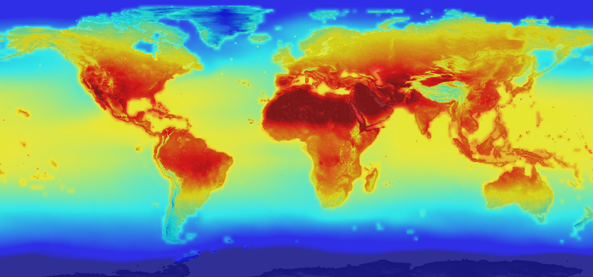 "Image credit: NASA ""The new NASA global data set combines historical measurements with data from climate simulations using the best available computer models to provide forecasts of how global temperature (shown here) and precipitation might change up to 2100 under different greenhouse gas emissions scenarios."" Link to data set:  https://cds.nccs.nasa.gov/nex-gddp/"