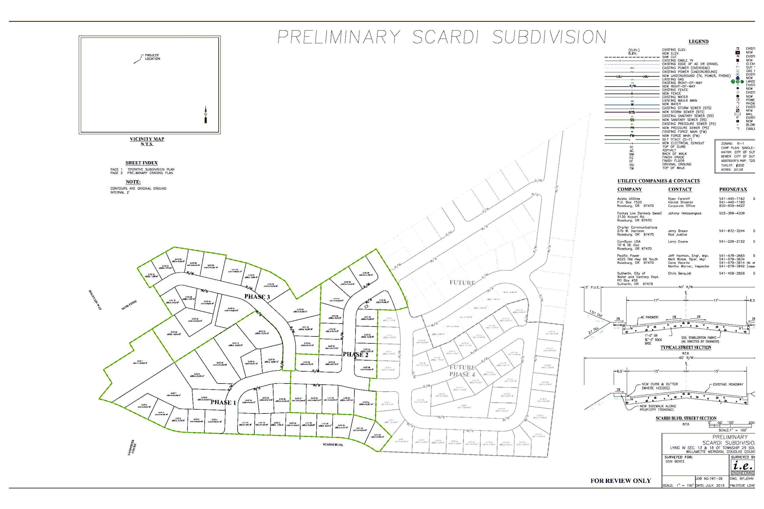 Drawing #1: planned 69 home subdivision plot
