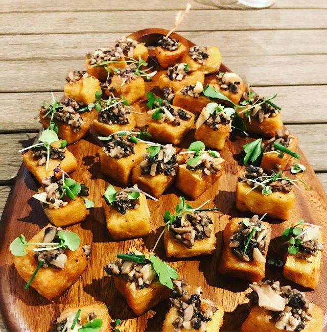 A fun vegan appetizer from this week. Chickpea panisse, Ali'i mushroom, garlic mojo, micro herb salad. #mauievents #vegan #crowdpleaser