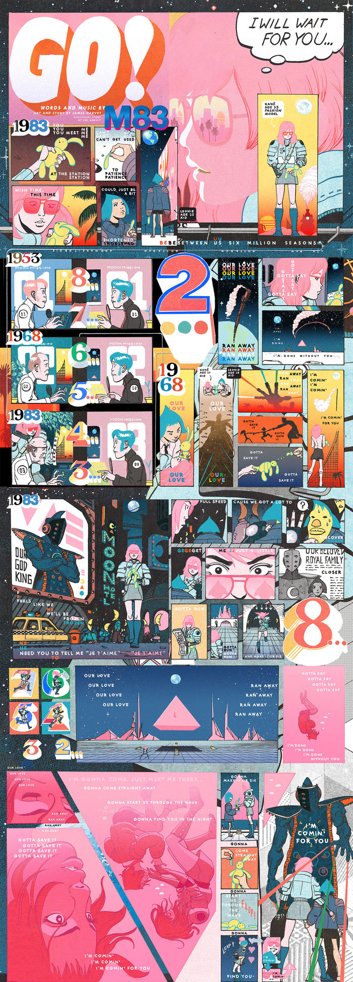 "M83's ""Go"" Excerpt, by James Harvey    This is the most successful piece of media that I published at  Paste . I'd had another comic creator in mind for this collaboration with M83, but the creator's direction was more spartan and didn't work for the musician's neon barrage of synth and style. James Harvey, conversely, created a feverish masterpiece. The work's success wasn't due to its page views or social shares; M83 mastermind Anthony Gonzalez used the art from the comic for the entirety of his merchandise line.  Shirts , tote bags, and mugs all featured Harvey's fluid, manga-influenced line work."
