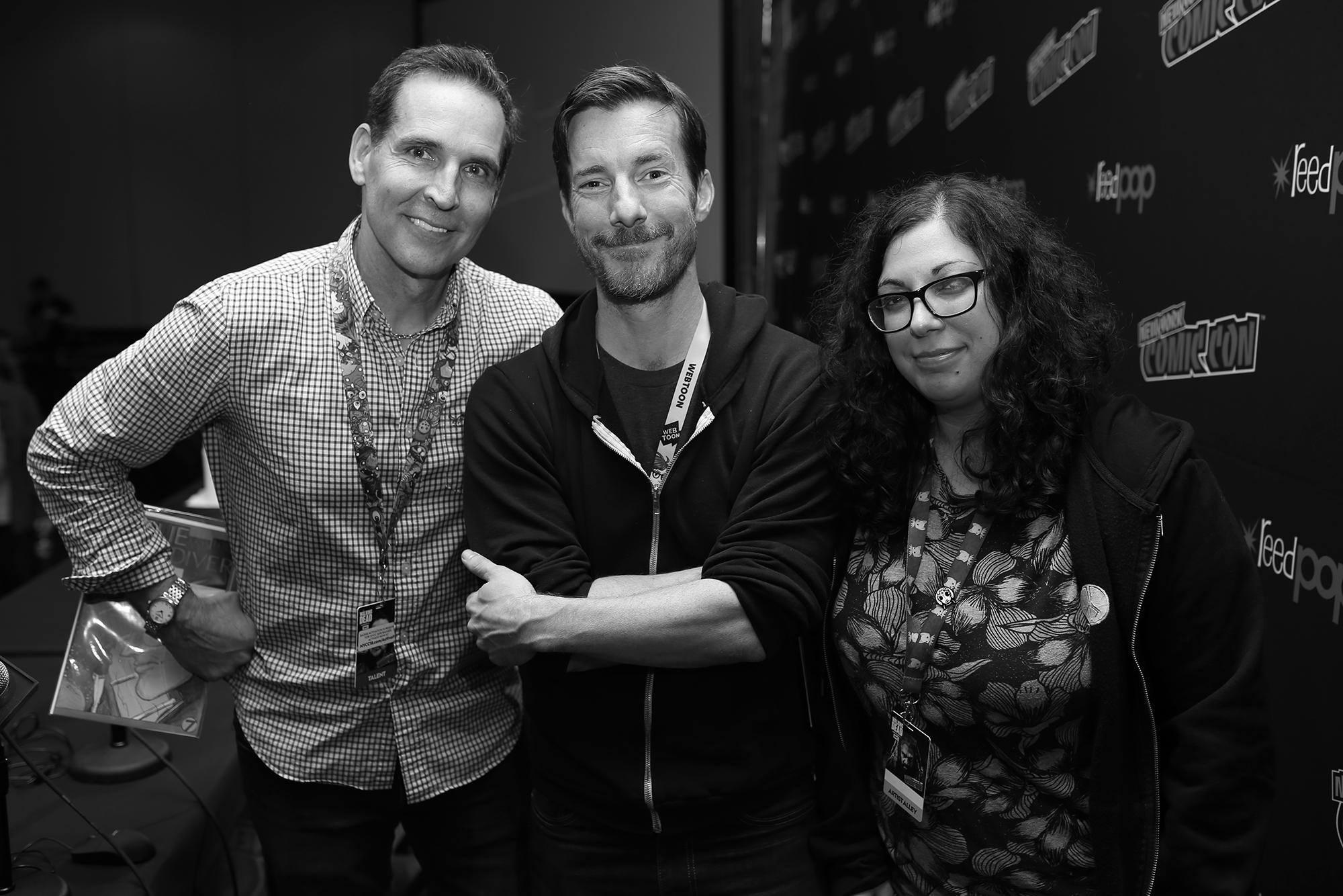 Todd McFarlane, Wes Craig, and Mirka Andolfo after an Art Jam panel at New York Comic Con