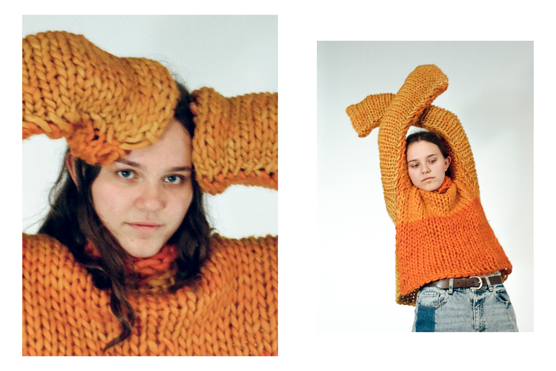 Sasha wears sweater from  Bibel .  Photos by James Caswell.  Styled by Sophie Kristjansson and Kate Evans.  Creative direction by Cassie Dimitroff.