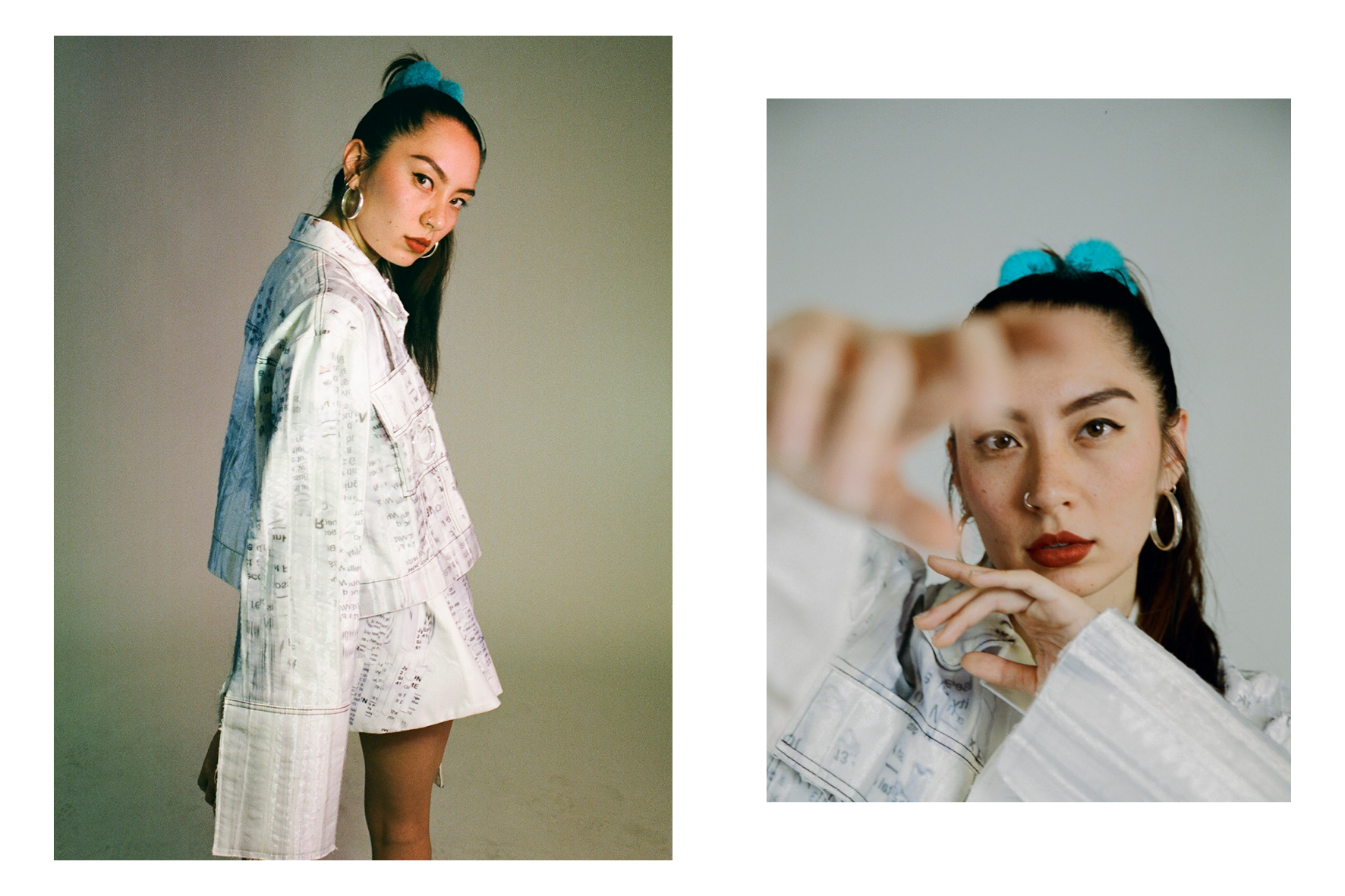 Deena wears jacket and skirt by  Kate Cunningham .  Photos by Dom Gould and James Caswell.  Styled by Sophie Kristjansson and Kate Evans.  Creative direction by Cassie Dimitroff.