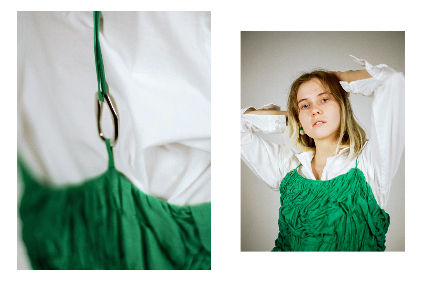 Hallie wears shirt and dress from  Katalyst .  Photos by Dom Gould.  Styled by Sophie Kristjansson and Kate Evans.  Creative direction by Cassie Dimitroff.
