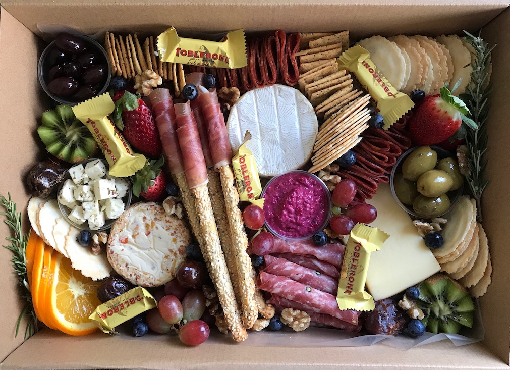 Grazing Boxes - Choose from cheese, charcuterie, or dips.