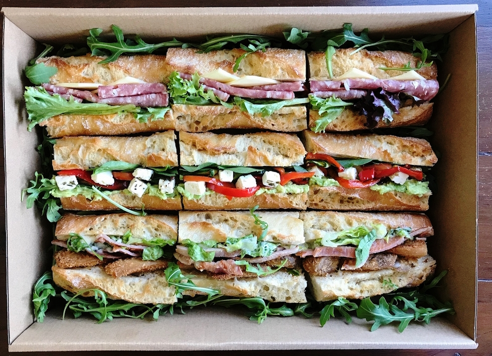 9 baguettes - Sourdough baguette sandwiches with various fillings- ham, swiss cheese, tomato- salami, provolone, sundried pesto and rocket- grilled veg, fetta, baby spinach, chipotle mayo$58 Days to order - 2Vegetarian and vegan options available.