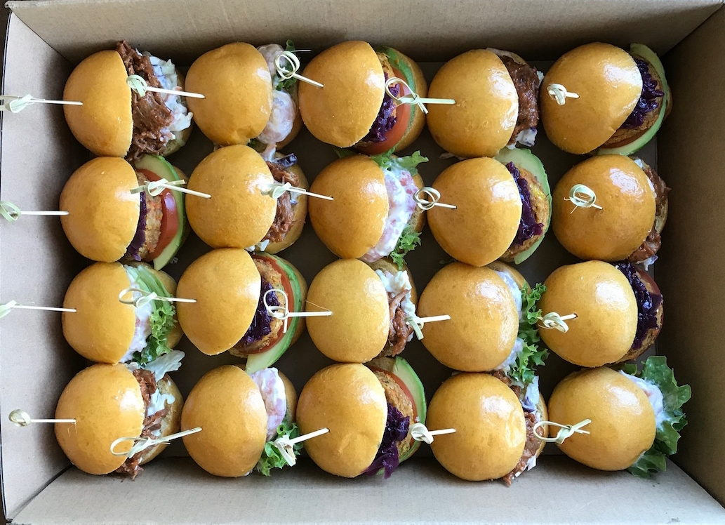 20 mini slider buns - Mini brioche slider buns with various fillings;- prawn mayonnaise- pulled pork and apple slaw- spiced sweet potato and quinoa patty, beetroot relish and avocado$85 Days to order - 2Vegetarian options available.