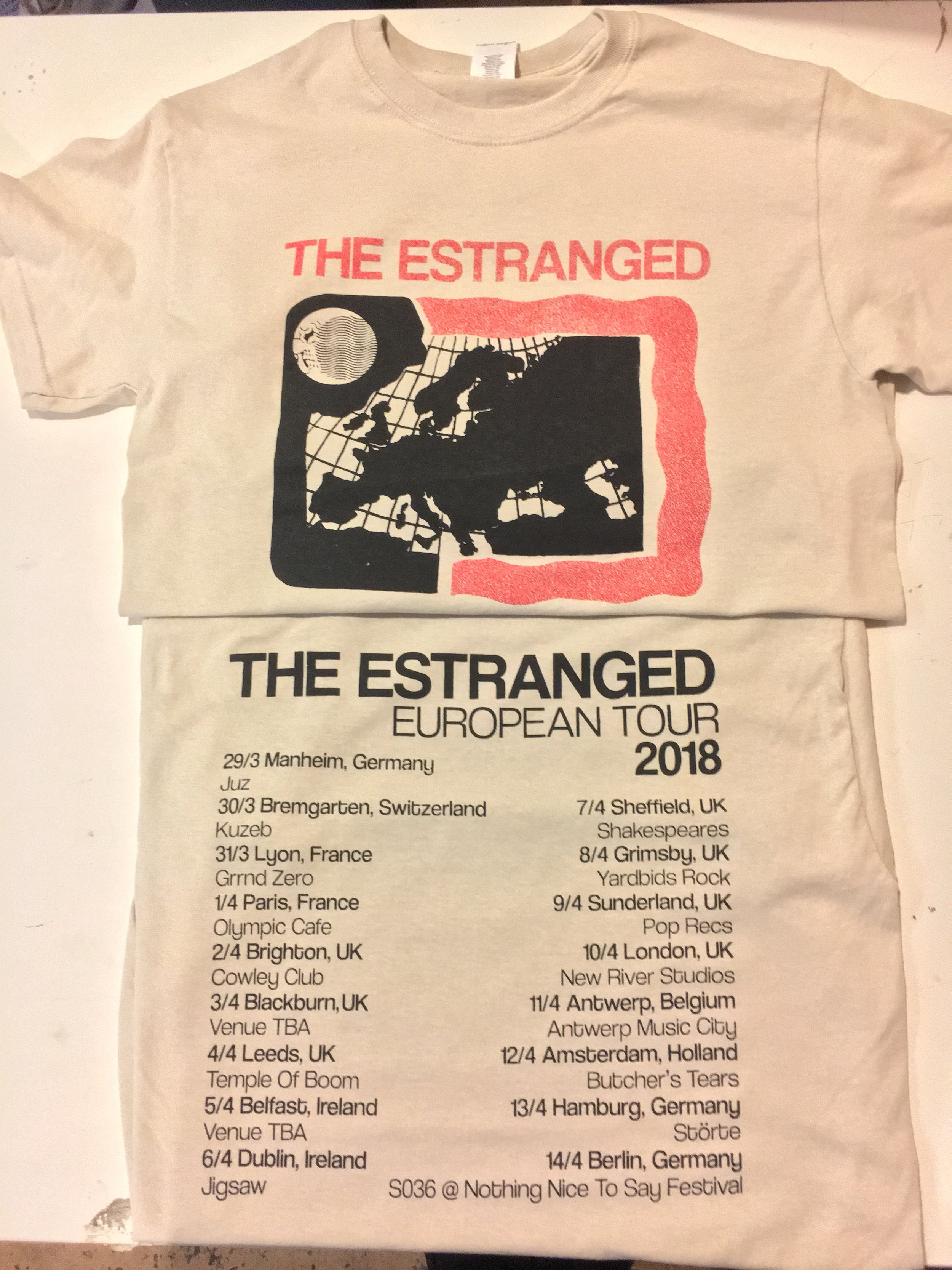 2-sided 2 color shirt designed & printed in house for The Estranged (Portland, OR)