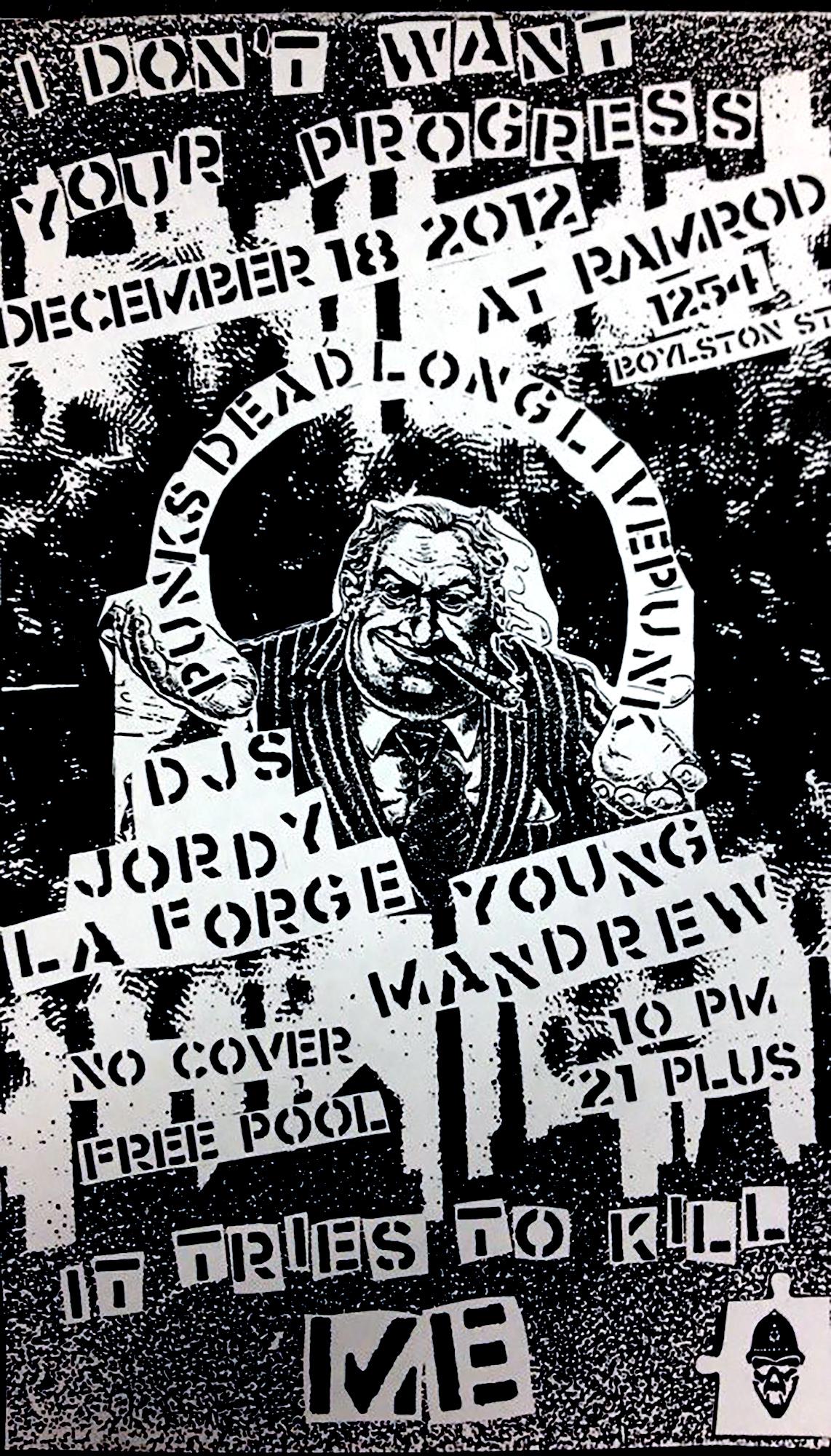 Cut & paste flyer for a vinyl DJ night in Boston, MA. 2012